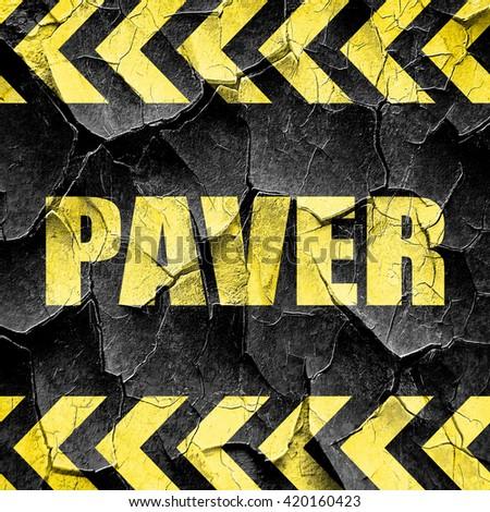paver, black and yellow rough hazard stripes - stock photo