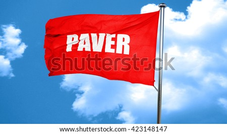 paver, 3D rendering, a red waving flag - stock photo