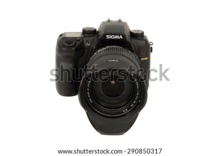PAVIA, ITALY studio shot - MARCH 26, 2008 : Sigma SD14 digital camera on white background, product shot - stock photo