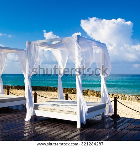 Pavilion and swimming pool in luxury resort - stock photo