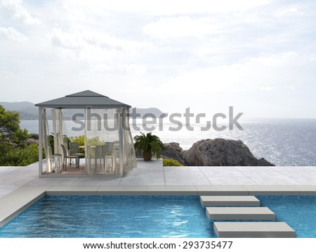 pavilion and swimming pool with a view to the sea - fictitious 3D rendering - stock photo