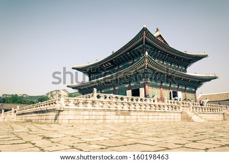 Pavilion at Gyeongbokgung Palace in Seoul, South Korea. The palace is the largest of the five grand palaces built by the Joseon Dynasty. - stock photo