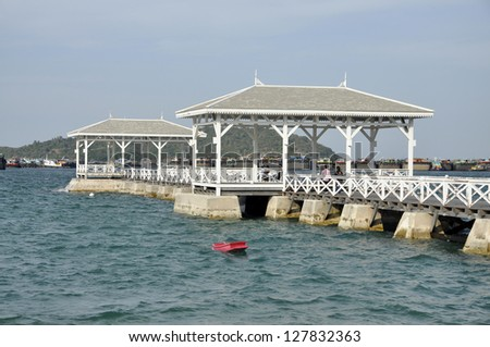 Pavilion Boat Outdoor Sea Wood Day - stock photo