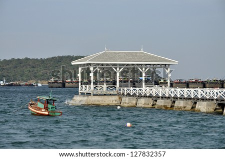 Pavilion Day Outdoor Sea Wood Boat - stock photo