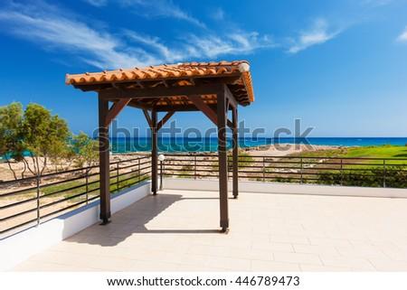 pavilion for wedding on the beach ,setup on tropical beach, outdoor beach wedding. - stock photo