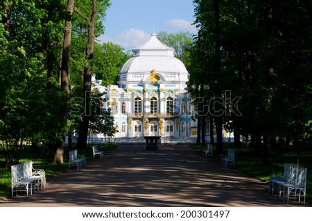 Pavilion in Catherine`s park in Tsarskoe Selo near Saint Petersburg, Russia. - stock photo