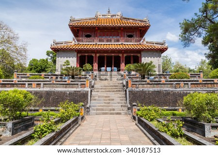 Pavilion in Imperial Minh Mang Tomb in Hue, Vietnam - stock photo