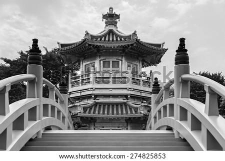 Pavilion of Absolute Perfection in the Nan Lian Garden, Hong Kong - stock photo