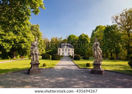 pavilion Sophienlust in the park palace Burgk in springtime - stock photo