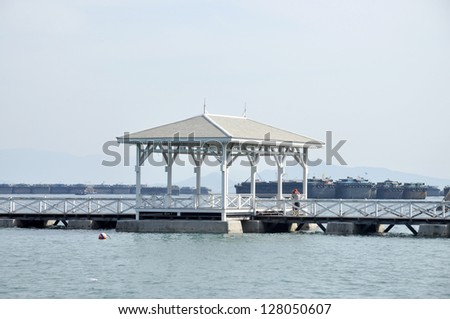 Pavilion Wood Day Outdoor Nature Sea - stock photo