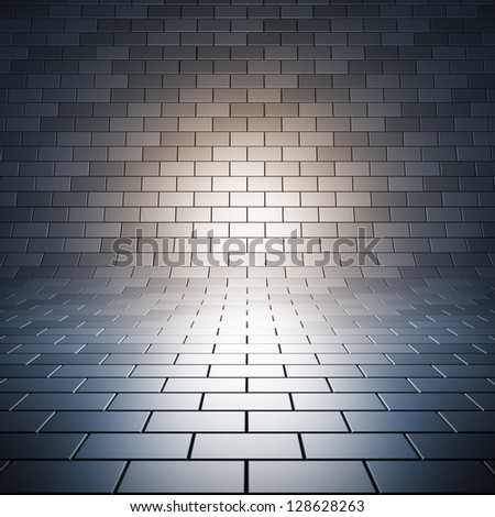 Paving empty surface. A 3d illustration blank template of empty tile place with light. - stock photo