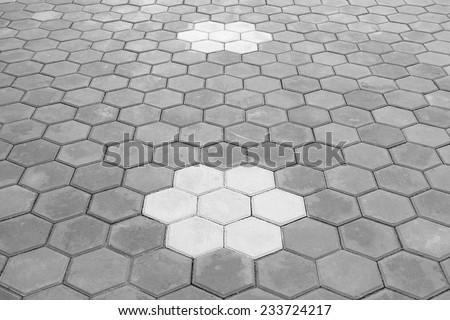 Paving Hexagon brick walkway ;The pattern of stone block paving - stock photo