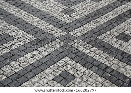 Paving stones street with pattern texture - stock photo