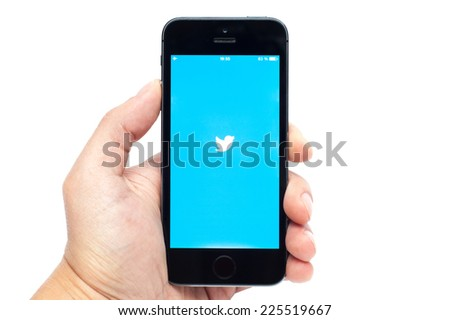 Pavlograd, Ukraine - October 21, 2014: Twitter service of microblogging is created in 2006. Twitter service for a public exchange of short messages from 140 symbols. - stock photo