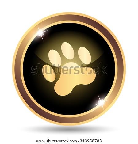Paw print icon. Internet button on white background. - stock photo