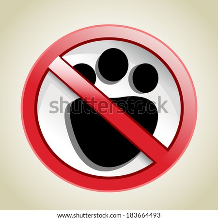 paw print with not allowed symbol - no pets allowed - stock photo