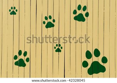 Paw prints on yellow fence - stock photo