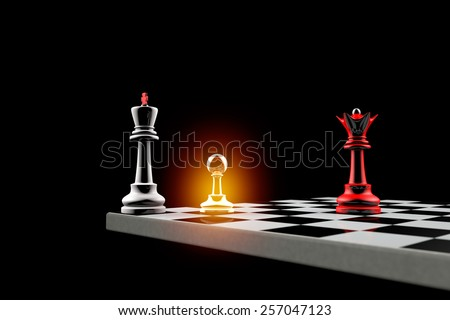 Pawn defends the King. It is a metaphor (political balance). - stock photo