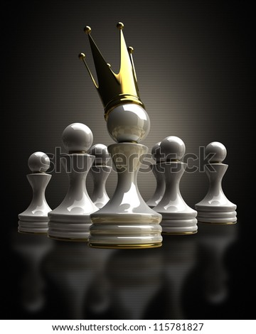 Pawn in a golden crown High resolution 3D - stock photo