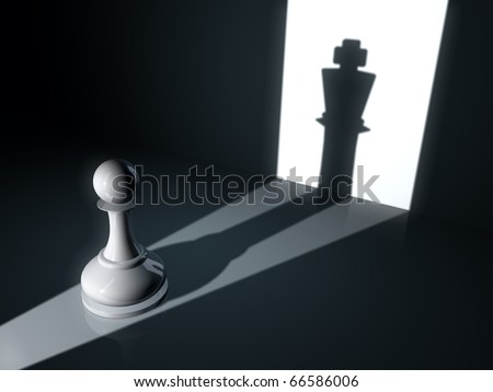 Pawn with king shadow/Hidden power - stock photo