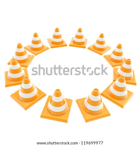 Pay attention concept: roadworks orange cone copyspace round frame isolated on white background - stock photo