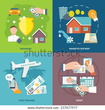 Pay bill insurance rent payments ticket booking credit flat icons set isolated  illustration - stock photo