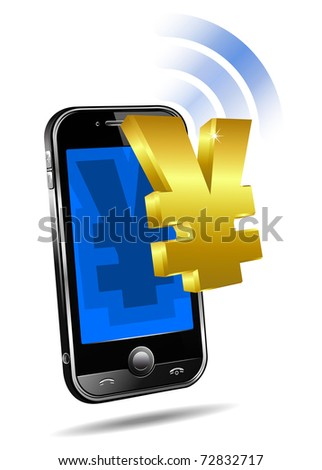 Pay by Mobile, Cell Smart Phone - raster version  - Mobile tariff and payment concept with money symbol for Chinese Renminbi, Yuan and Japanese Yen - stock photo