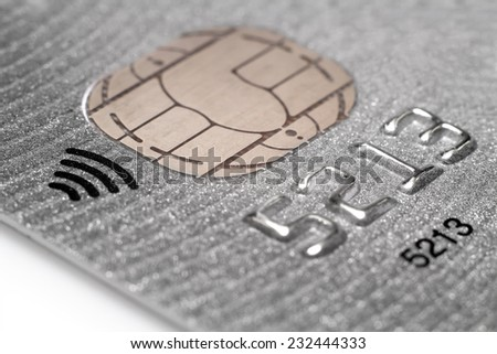 Pay Pass Credit card close up  with shallow depth of field. Macro shot - stock photo