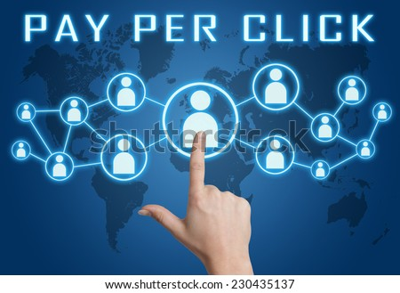 Pay per Click concept with hand pressing social icons on blue world map background. - stock photo