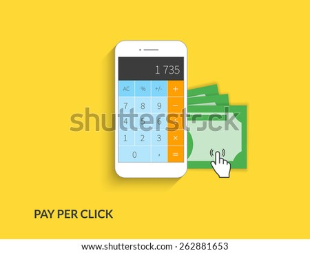 Pay per click. illustration of calculating money using smartphone on yellow background - stock photo