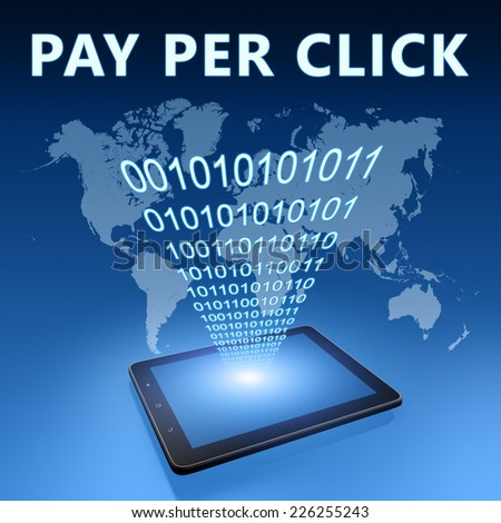 Pay per Click illustration with tablet computer on blue background - stock photo