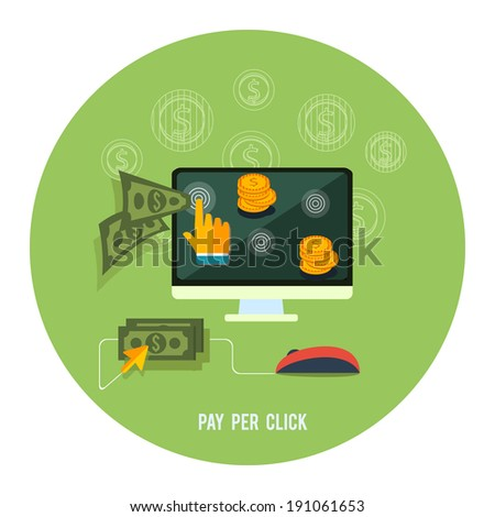 Pay per click internet advertising model when the ad is clicked. Modern flat design. Raster version - stock photo