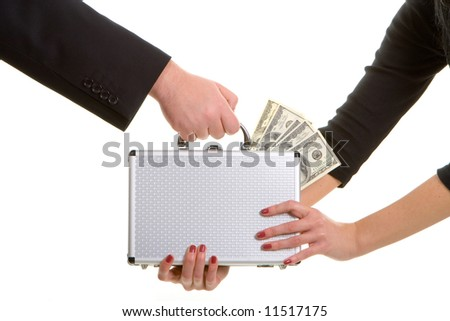 paycheck over white background - stock photo