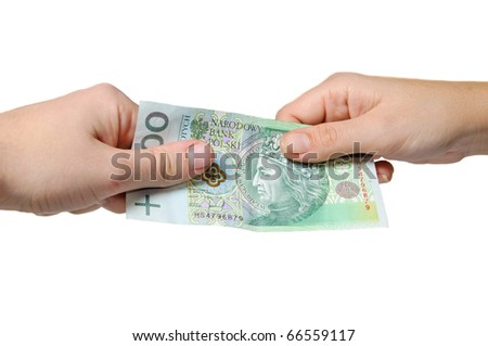 Paying with polish currency - pln - stock photo