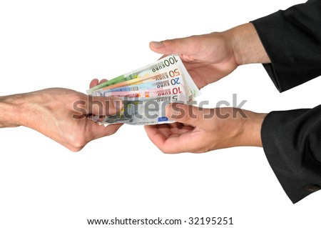 Payment between two persons. - stock photo