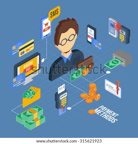 Payment isometric set with banking cash money financial 3d icons  illustration - stock photo