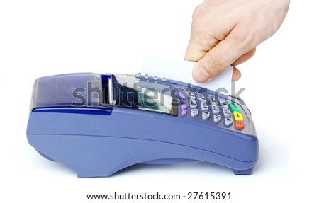 Payment on a credit card through the terminal - stock photo