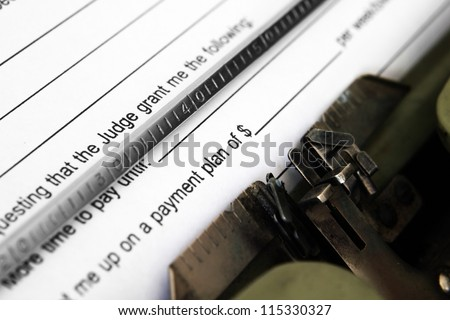 Payment plan form - stock photo