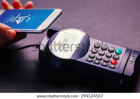 Payment screen against mobile payment - stock photo