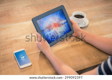 Payment screen against stocks and shares - stock photo