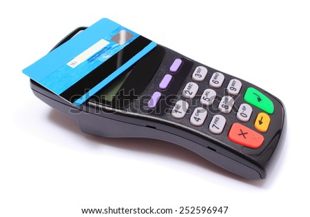 Payment terminal with contactless credit card on white background, credit card reader, payment terminal, finance concept - stock photo