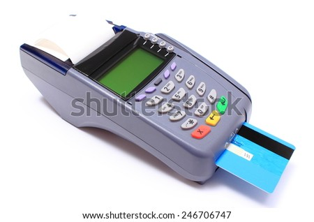 Payment terminal with credit card on white background, credit card reader, payment terminal, finance concept - stock photo