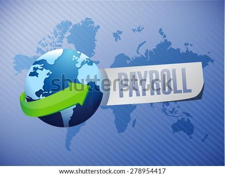 payroll international sign concept illustration design over blue - stock photo