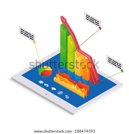 PC analytics or infographics template with a 3d bar graph with an upward trend on the touchscreen of a tablet-pc together with a pie graph and fluctuating chart with text boxes illustration - stock photo