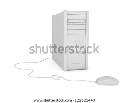 PC.Isolated on white background.3d rendered. - stock photo