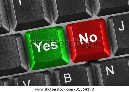 PC keyboard with Yes and No keys - business concept - stock photo