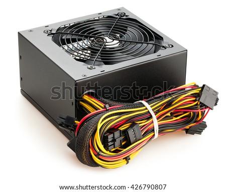 pc power supply isolated - stock photo