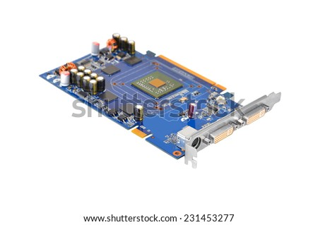 PC video card for computer, isolated on white background, DOF - stock photo