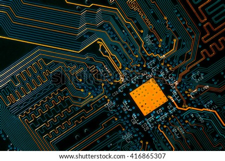pcb board integrated circuit - stock photo