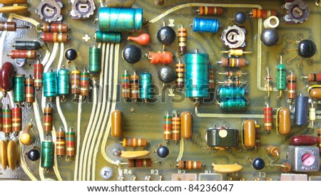 PCB board with electronic parts - stock photo